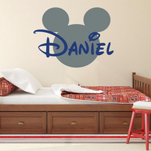 Hot sale Mickey Mouse Bathroom Decoration Cartoon Cute glass Wall Stickers Custom Kids Name Baby Wall Decals Free shipping