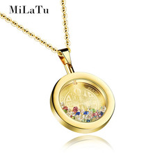 MiLaTu Saint Benedict Pendant Necklace Stainless Steel Women Religious Prayer Jewelry CZ Stone Necklace Free Chain Colar NE128G(China)