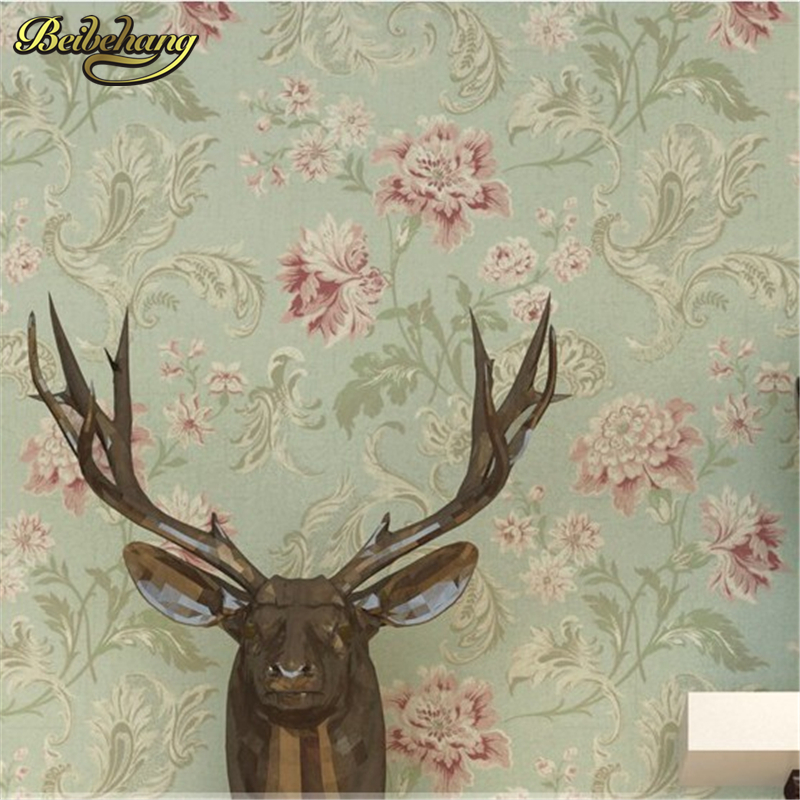 beibehang papel de parede. American Vintage printing wall covering background modern flower wall paper floral paper wallpaper<br>