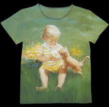 Track Ship+New Vintage Retro T-shirt Top Tee Cute Little Boy Share Icecream Ice Cream with Yellow Cat In Green Grass 0786(Hong Kong,China)