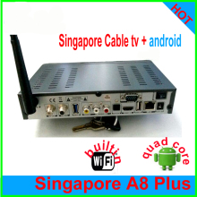 2PCS/LOT 2017 NEW Singapore starhub box A8 Plus+Android combo tv box quad core iptv singapore chnnel apk support 4k h.265 USB3.0