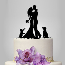 2017 Acrylic Kissing Wedding Cake Topper/Wedding Stand/Wedding Decoration Wedding Cake Accessories Casamento 1 Dog 1 Cat