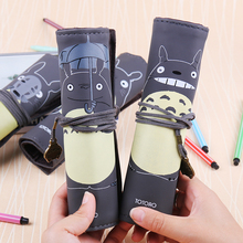 1 PC Neighbor Totoro PU Leather Roll Pencil Bag Creative Stationery Storage Bandage Bag Stationery School Office Supplies