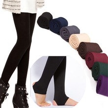Women's Autumn Winter Thick Warm Legging Brushed Lining Stretch Fleece Pants Trample Feet Leggings Female Solid Color Leggings