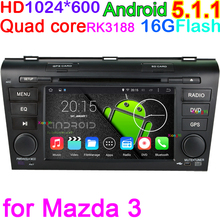 Android5.1.1 Quad Core DVD GPS Radio Car Computer PC for Mazda3 2004 2005 2006 2007 2008 2009 Dual Zone Function wifi Navigation