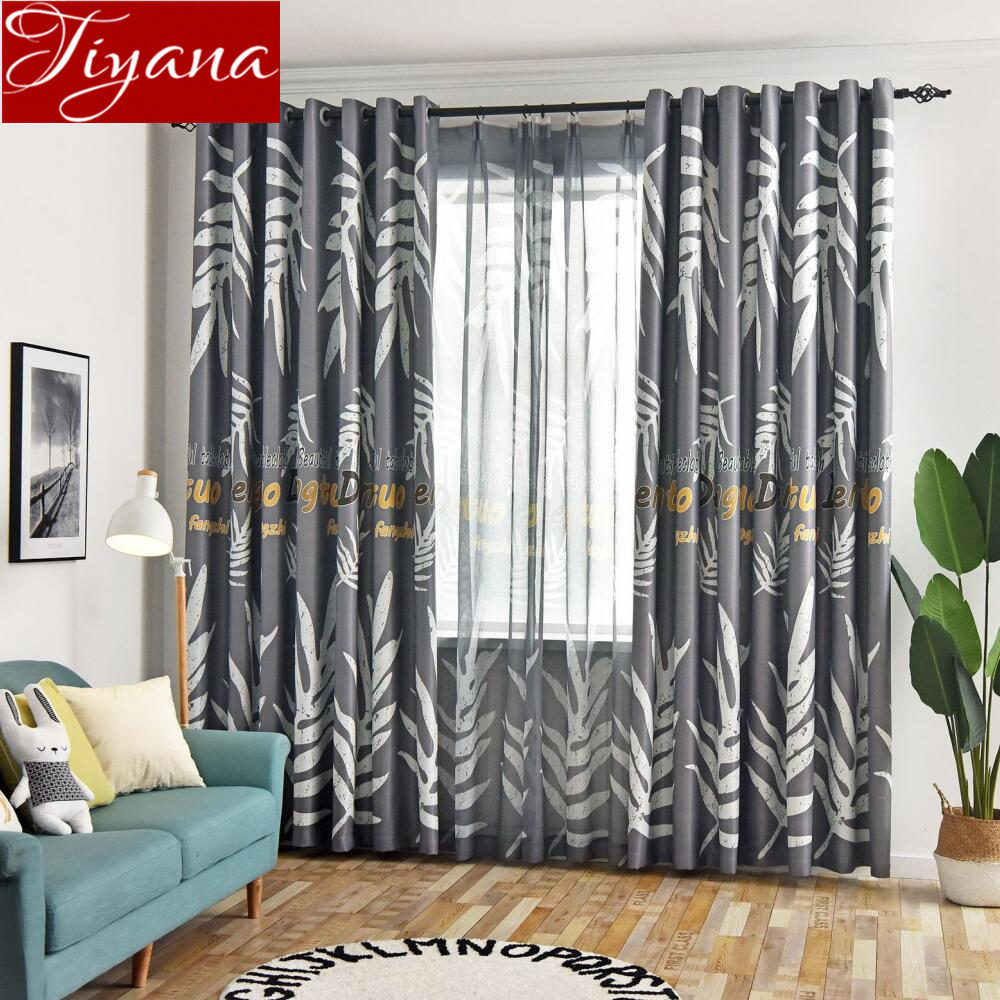 Nordic Style Curtain Leaves Design for Living Room Grey Blackout Curtain Window Bedroom Drapes Sheer Fabrics X532#30