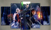 2017 Canvas Pictures Prints 5 Pieces Calligraphy Painting Movie Nightmare Before Christmas Wall Art For Home Decor