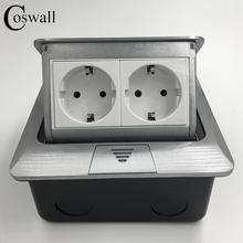 Manufacturer All Aluminum Panel EU Standard Pop Up Floor Socket 2 Way Electrical Outlet Modular Combination Customized Available()