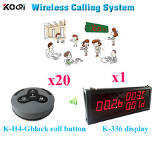 Wireless Call Bell System CE Approved Wireless Office Call Bell Remote Vibrating Buzzer ( 1 display 20 call button)(China)
