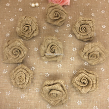 Natural Jute Burlap Hessian Flower Rose Handmade Vintage Wedding Decoration Party Decoration Hat Craft DIY Accessories(China)