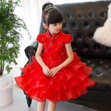 2017 New Chinese Traditional Red Color Girls Children Cheongsam Party Dress Cake-Layers Mesh Dress Kids Birthday Wedding Dress
