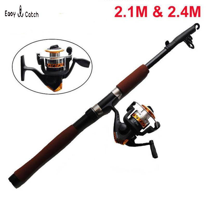HOT sell 2.1M 2.4M Portable  cheap Telescopic Fishing Rod and Reel Combos Kits Freshwater Tackle<br>