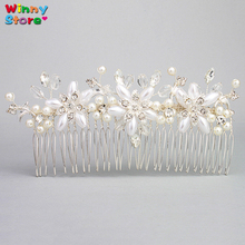 Silver Crystal Bridal Hair Comb Accessories White Pearl Flower Tiara Flores Rhinestone Hair Clip For Women Formal Headpiece Gift(China)