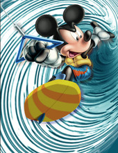 5x7FT Mickey Mouse Sports Surfing Surf Riding Baby Custom Photography Studio Backgrounds Backdrops Vinyl 150cm x 220cm(China)