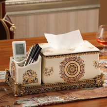 Ceramic multi-functional tissue box American living room coffee table simple remote control pumping tray creative home(China)