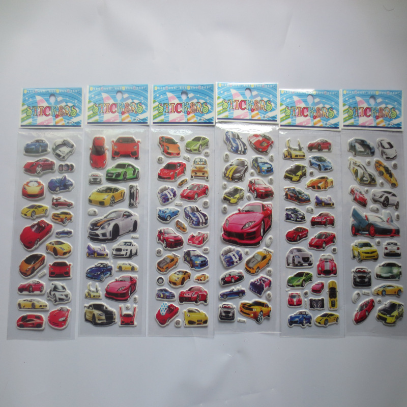 6 sheets/set cartoon car sticker 3D bubble stickers scrapbooking for kids Home decor Diary Notebook Label Decoration toy<br><br>Aliexpress