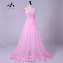 Beach Wedding Dress Flowers Color dress Greek Wedding Dress Romantic Pink Two pieces A-line Ladies Masquerade Hot Sale(China)