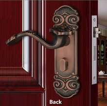 Retro Fashion creative Good luck indoor wooden door locks antique copper bedroom bookroom solid wooden door handle locks(China)