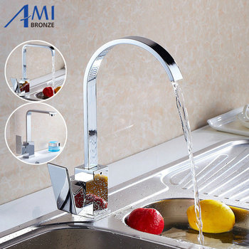 Great Quality Kitchen Sink 360 Degree Swivel Hot Cold Mixer Tap Chrome Polished Brass Basin Faucet 8217