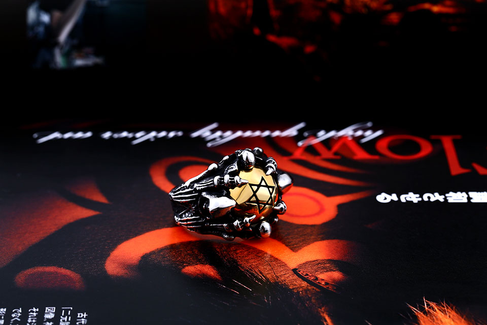แหวนโคตรเท่ห์ Code 025 แหวนดาว6แฉกอุ้งมือมังกร สแตนเลส7