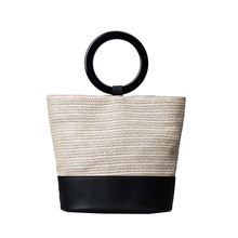 2017 Big Straw Handbags for women Ring handle NEW Design Beach Bag ladies Weave Shoulder Bags Basket Party Market Shopping Tote