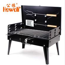 Charcoal burn oven portable folding barbecue grill box  barbecue grill for outdoor household  BBQ Grills thickening
