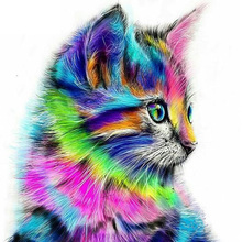 5d diy diamond embroidery Colorful cat diamond painting cross stitch diamond mosaic animal Home Decor paintings 20*20cm(China)