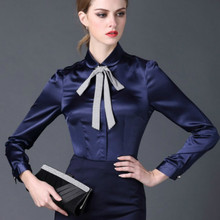 2017 new Satin Shirt Women Long sleeve peter pan collar silk Blouses women work wear uniform office OL shirt simple body tops