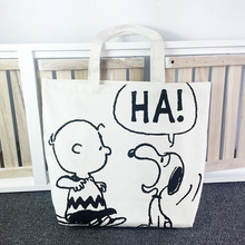 Japan Classic Snoopie Cartoon Dogs Women Portable Bags White Canvas Storage Bag 33*37*13CM  Kids Christmas Gifts brinquedos