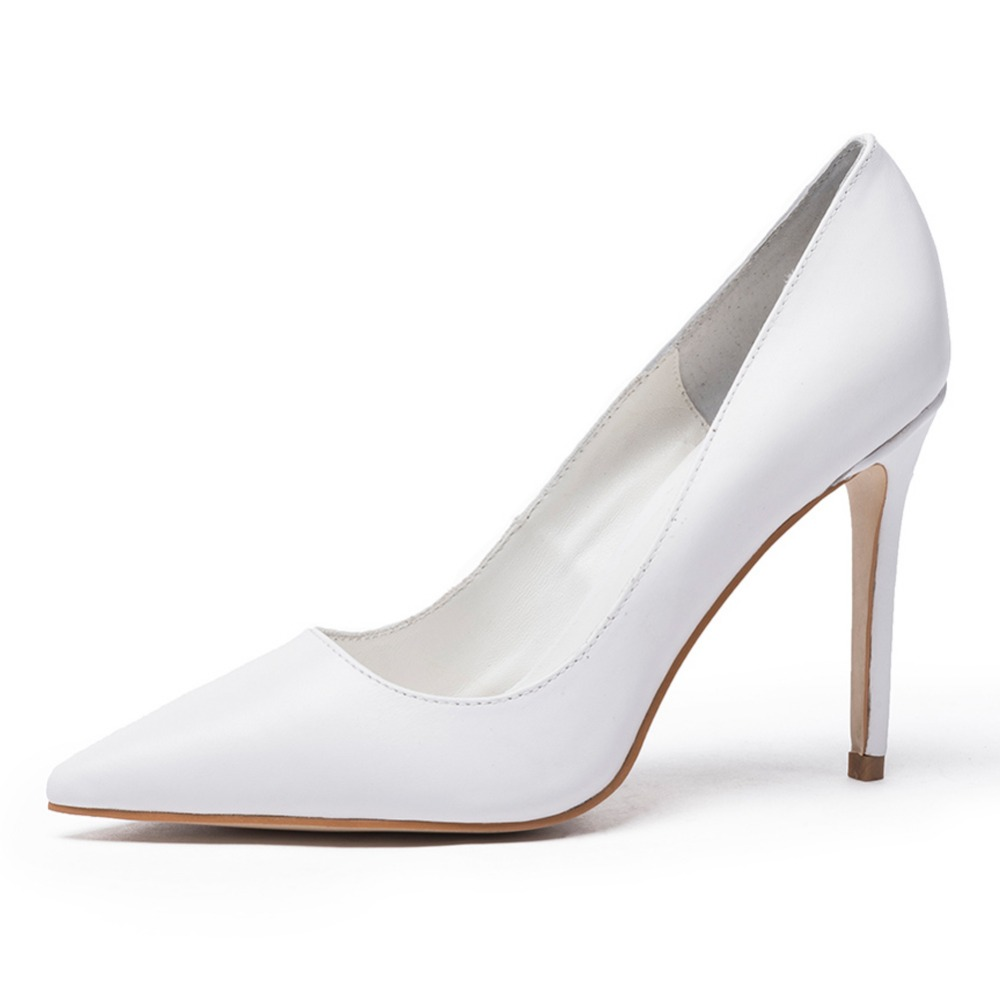 spring summer new womens pump Thin high heel  classic shoes black Stiletto Pointed Toe Genuine Leather Ladies office shoes nude