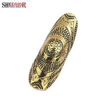 SHEEGIOR Vintage Gold Silver color Rings for Women Long Ring Men Jewelry Love Punk Pattern Bague Bijoux Femme Rings Accessories