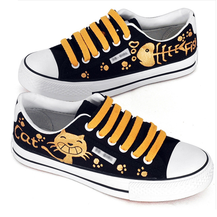 AMYMM Childrens Shoes Cartoon Hand-painted Cat and Fish Canvas Shoes Girls Wear, Breathable Lace Casual Shoes Size 35-39<br>