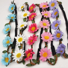 5 Daisy Flower Hair Band Hair Accessories Sunflowers Bridal Wreath Wedding Decor Gifts Shooting Props Craft Flowers 6ZA066(China)
