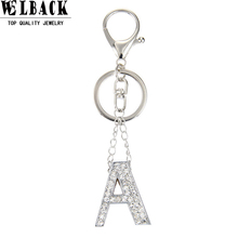 Welback fashion jewelry punk rock heavy metal style crystal portability letter charm pendant long key chain for women
