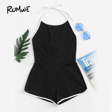 Buy ROMWE Black Halter Sleeveless Playsuits Women Summer Backless Knot Back Romper Sexy Beach Wear O Neck Romper