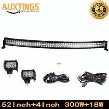"FREE SHIPPING led light bar with wireless remote control 52""inch 300W watt COMBO and 2PCS 4""18W Spot 4X4 offroad LIGHTBAR"