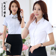 Hotel Reception Service Work Summer Female Catering Waiter Shirt Salon Occupation Suit Airline Stewardess Work Uniform J164(China)