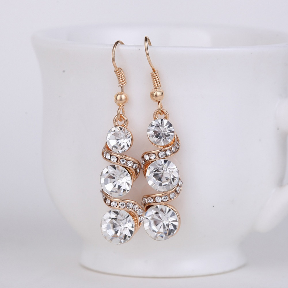 Women Water Droplets Irregular Long Section Big Zircon Earrings Stud Double  Sided Around Small Crystal Gold