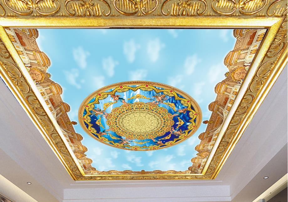 customized 3d Ceiling photo wallpaper murals Angel blue sky 3d wallpaper for ceiling living room<br><br>Aliexpress