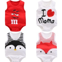 Summer baby boys clothes Cartoon newborn Baby romper Cotton sleeveless baby girls clothes 0-24M kids baby clothes