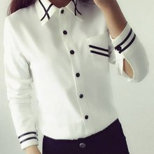 Fashion female elegant bow tie white blouses Chiffon turn down collar shirt Ladies tops school blouse Women(China)