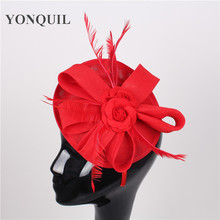 NEW ARRIVAL 15 colors red imitation sinamay fascinator hats feather wedding headwear party headpieces bridal hair accessories(China)