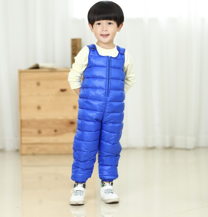 2018 Winter New Children Thick White Duck Down Overalls Fashion Color Loose Baby Down Pants Children Clothes Snowsuit<br>