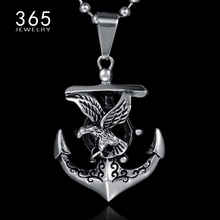 Brand Vintage Jewelry Stainless Steel Titanium Color Navy Anchor Necklace Viking Fly Eagle Pendant Necklaces for Men Women