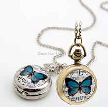 100pcs/lot Wholesale New enamel Butterfly Pocket Watch Necklace vintage jewelry Korean Sweater chain Gift Watches Promotion