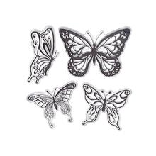 CCINEE 1PCS 4 Butterfly Transparent Clear Stamp DIY Silicone Seals Scrapbooking/Card Making/Photo Album Decoration Supplies