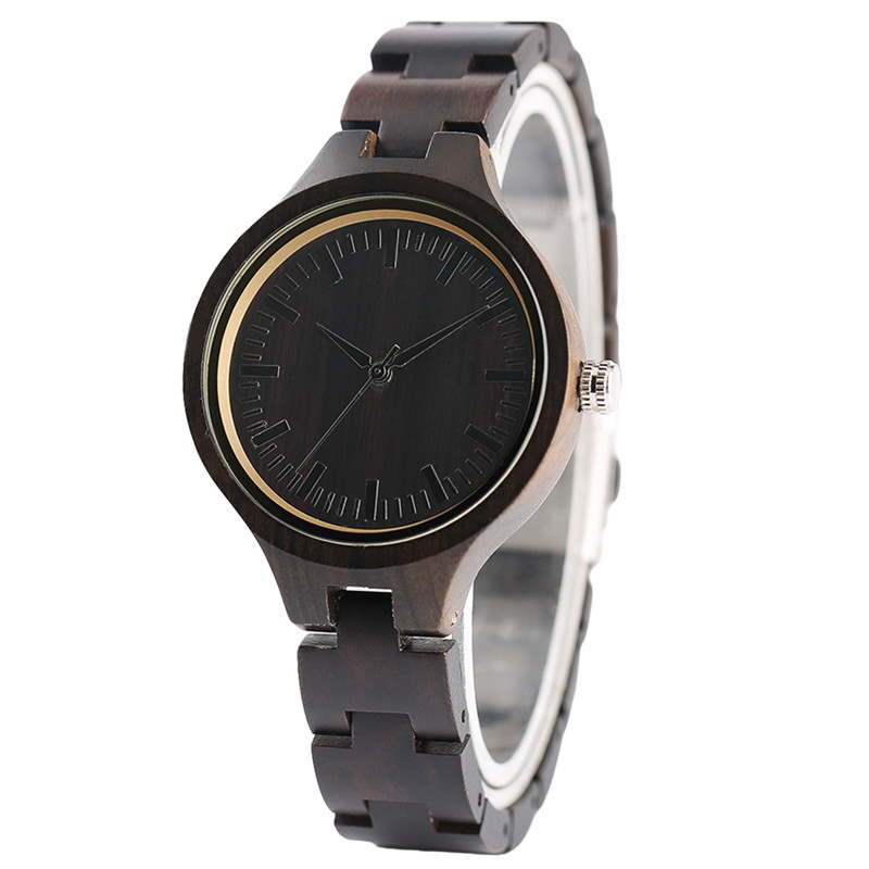 Fashion Hand-made Ebony Wooden Ladies Quartz Wristwatch Small Size Watchband Simple Black Design Case Bracelet Clasp Gift Female<br>