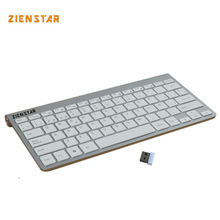 Zienstar Spanish Language Ultra Slim 2.4G Wireless Teclado for Macbook/PC Computer/Laptop / Smart TV with USB Receiver(China)