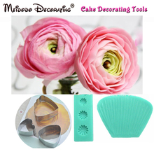 European Rose Petal Double Side Veiners Flower Cutter Cake Decorating Fondant Sugarcraft Ranunculus Mould Ranuncula Sugar Mold(China)