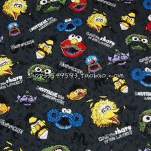 105X100cm Sesame Street Dark Gray Background Cotton Fabric for Baby Boy Cloth Sewing Bedding Set Hometextile Patchwork-AFCK334